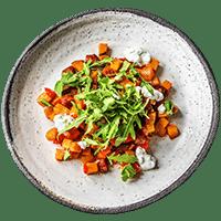 Chorizo & Sweet Potato Tray Bake with Spring Onion Raita