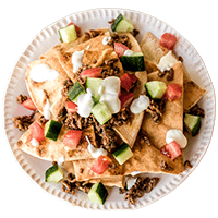 Greek Lamb Nachos with Pita Chips & Yoghurt