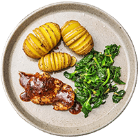 Honey Mustard Chicken with Hassleback Potatoes & Sautéed Greens