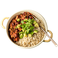 Mexican Chilli Sin Carne Bowl with Avocado and Coriander