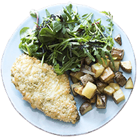 Mozzarella & Pesto Crusted Chicken with Roasted Potatoes