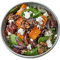 Pumpkin & Beet Quinoa Salad with Dijon Dressing & Walnuts