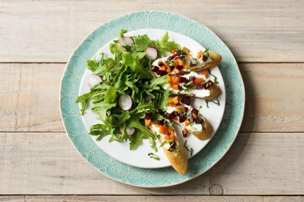 how to cook beets-recipes-carrot-beet-bruschetta-toast-HelloFresh