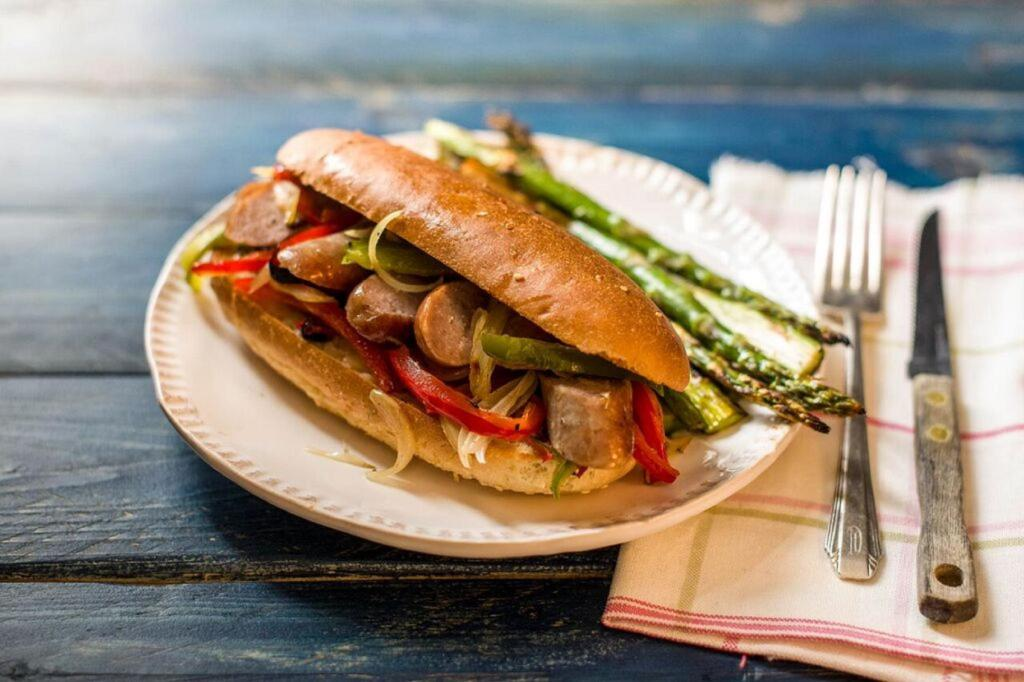 one-pot meals-sausage-pepper-hoagies-HelloFresh