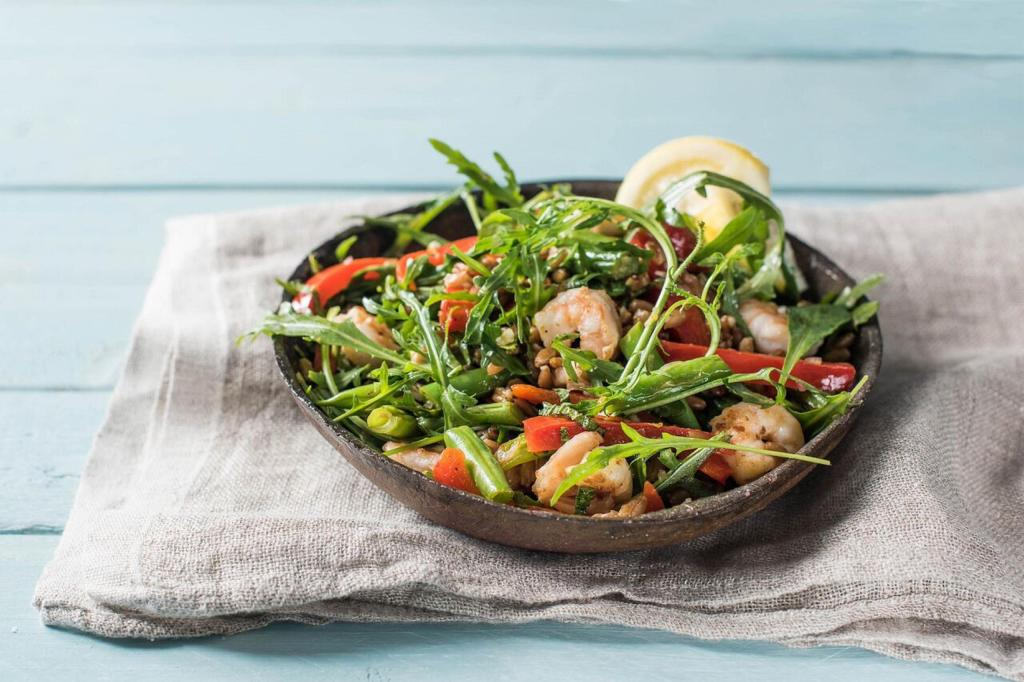 spring-leafy greens-shrimp-farro-salad-arugula-HelloFresh