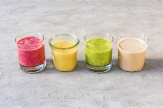 4 Different Colored Tahini Smoothies
