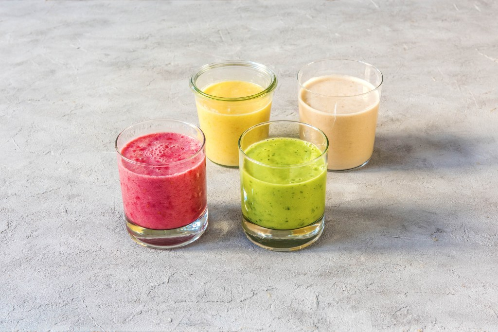 different colored tahini smoothies-recipe-HelloFresh