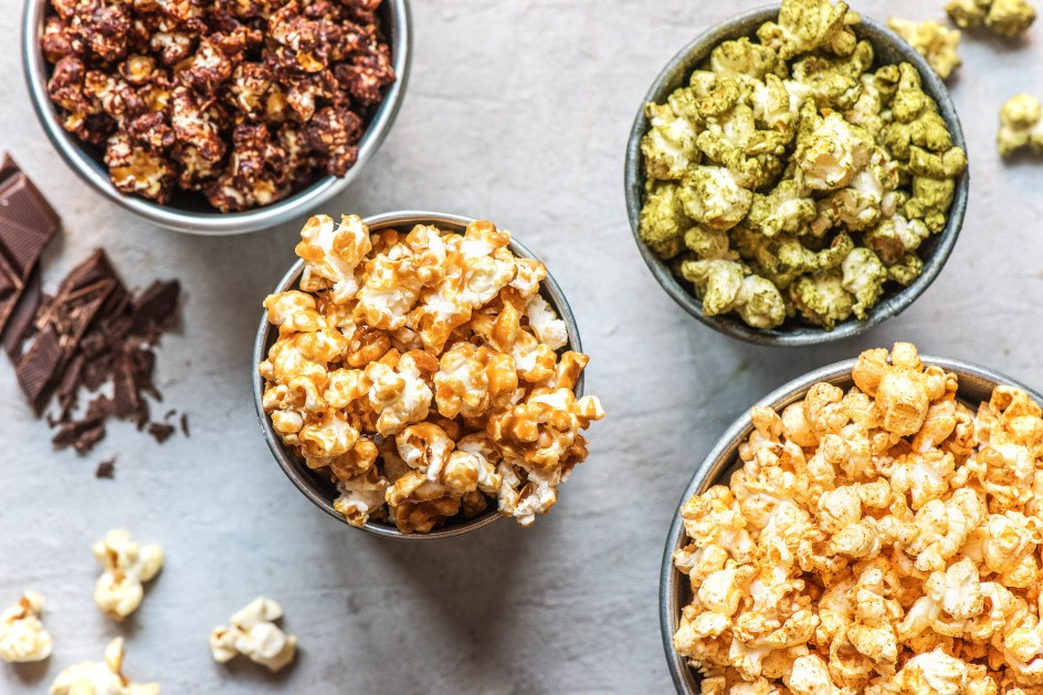 road trip snacks-HelloFresh-recipes-flavored-popcorn-chocolate-cinnamon-sugar-caramel-matcha