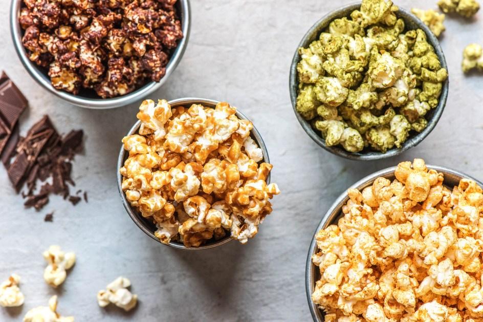 snack ideas-HelloFresh-recipes-flavored-popcorn-chocolate-cinnamon-sugar-caramel-matcha