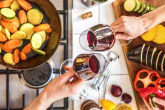 drinking wine-HelloFresh-cheers