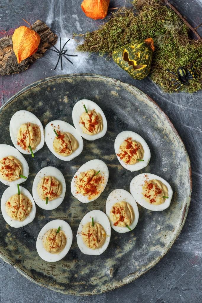 easy egg recipes-Halloween-HelloFresh-pumpkin-deviled-eggs