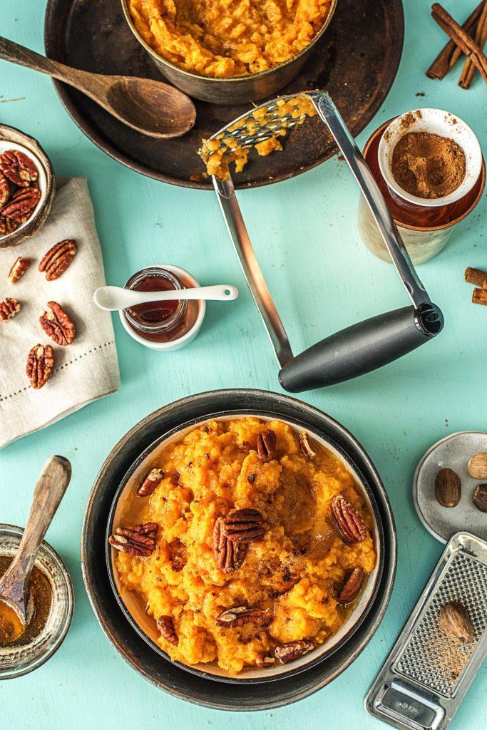 mashed potato recipes-maple-brown-butter-sweet-potatoes-HelloFresh