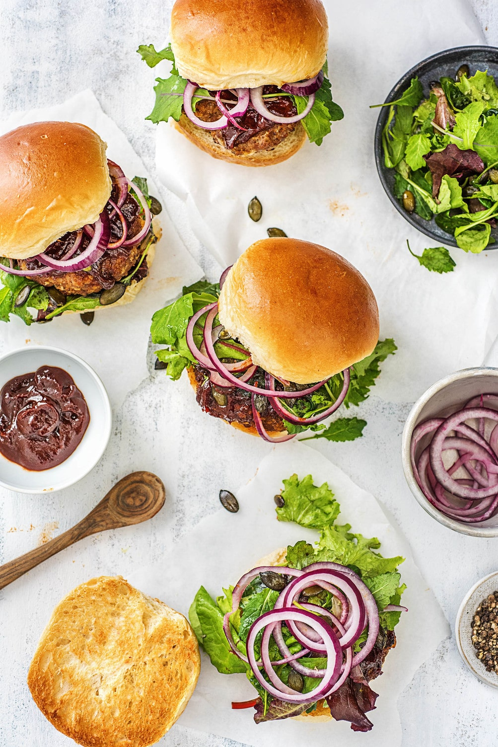 meatloaf burgers-HelloFresh-barbecue sauce