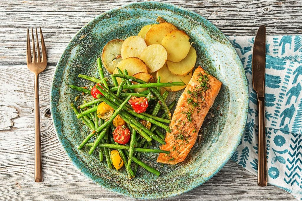 recipes with dill-HelloFresh-roasted-salmon-potatoes-dilled-veggies
