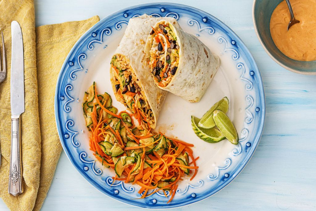 easy korean recipes-kimchi-hot-sauce-burritos-HelloFresh