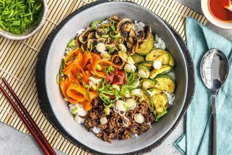 easy korean recipes-HelloFresh-beef-bibimbap