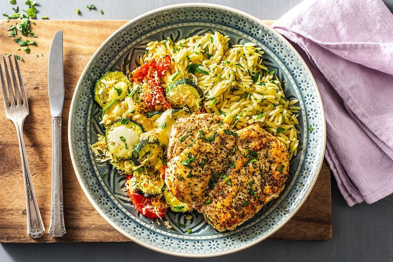 types of cheeses-HelloFresh-chicken-orzo-cheesey-roasted-zucchini-tomatoes