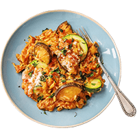 Orzo-Nudel-Auflauf mit viel Gemüse