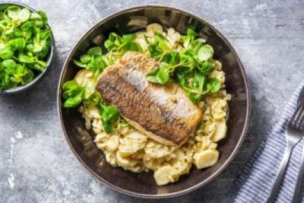 persil tubéreux, légume oublié, risotto, risotto légume, risotto persil tubéreux, poisson, poisson grillé, recette octobre, recette HelloFresh, poisson et risotto