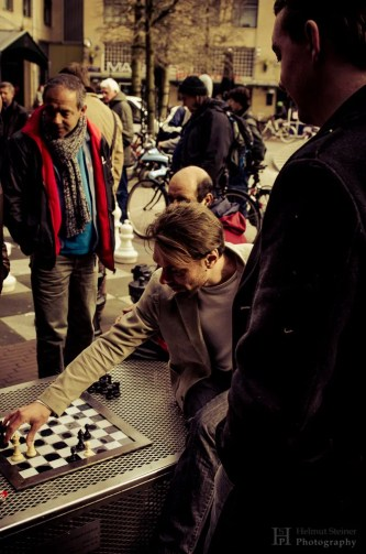 Guys playing chess in Amsterdam