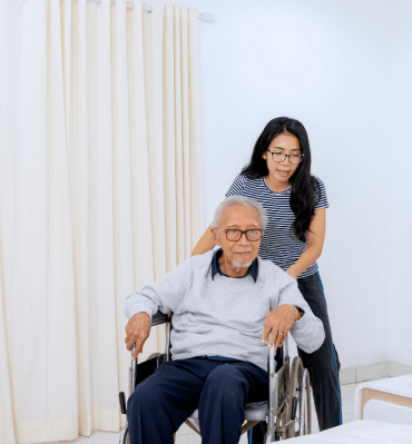 elderly with helper