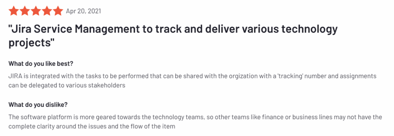 """Jira review: """"Jira Service Management to track and deliver various technology projects"""""""