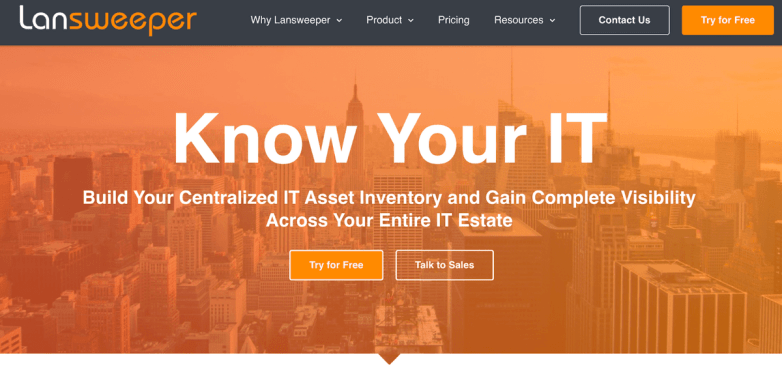 Lansweeper homepage