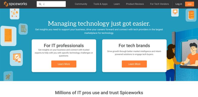 Spiceworks homepage
