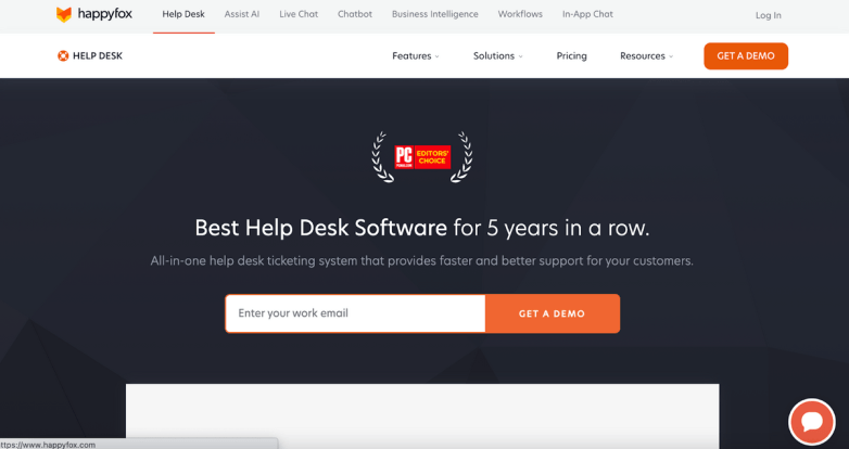 HappyFox homepage: Best Help Desk Software for 5 Years in a Row