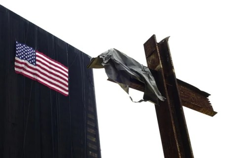 9-11 iron cross at ground zero