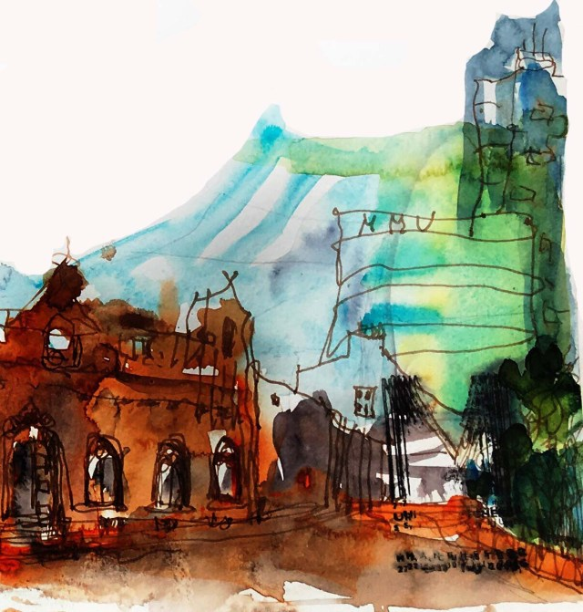 Ausschnitt: Tine Klein das rote Haus am All Saint´s Garden Manchester Tinte über Farbe