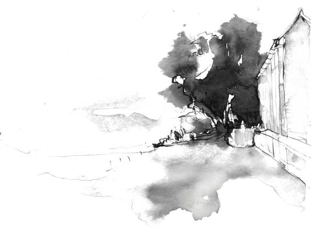 Hafen Uetikon schwarz weiß