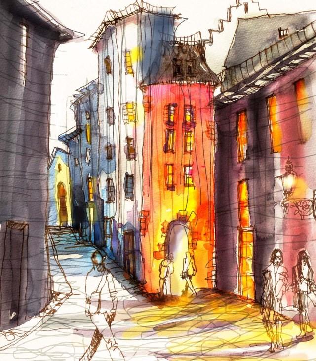 Tine Klein, Aquarell, Skizze. Menschen zeichnen, Zeichnen lernen, kolorieren