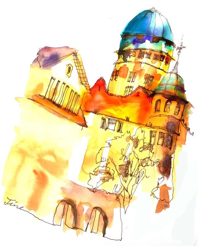 Aquarell von Tine Klein für Skizzenbuch, Mallerei Zürich, Ort: Alststadt, Urania Sternwarte, Anleitung für eine grafische Reportage: