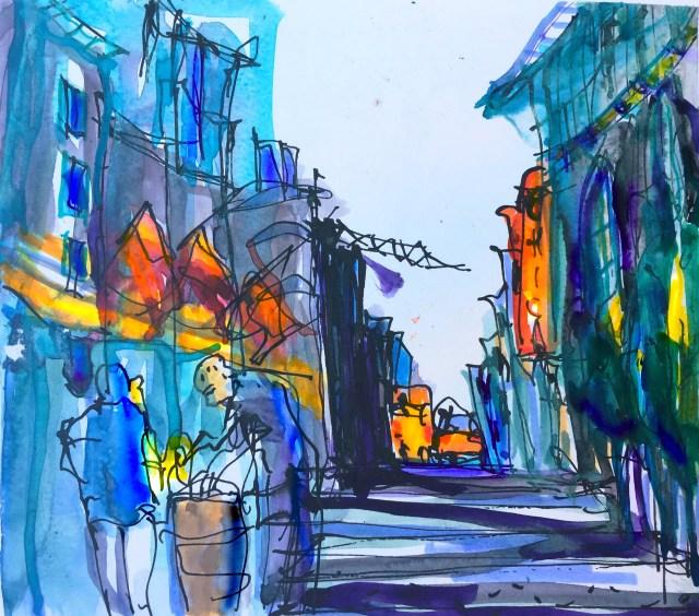 Urban Sketching Malen lernen, Zeichnen lernen , Aquarell, Bremgarten Schweiz, Beispiel für eine Schnelle Skizze. usk Chicago 2017,urban sketching