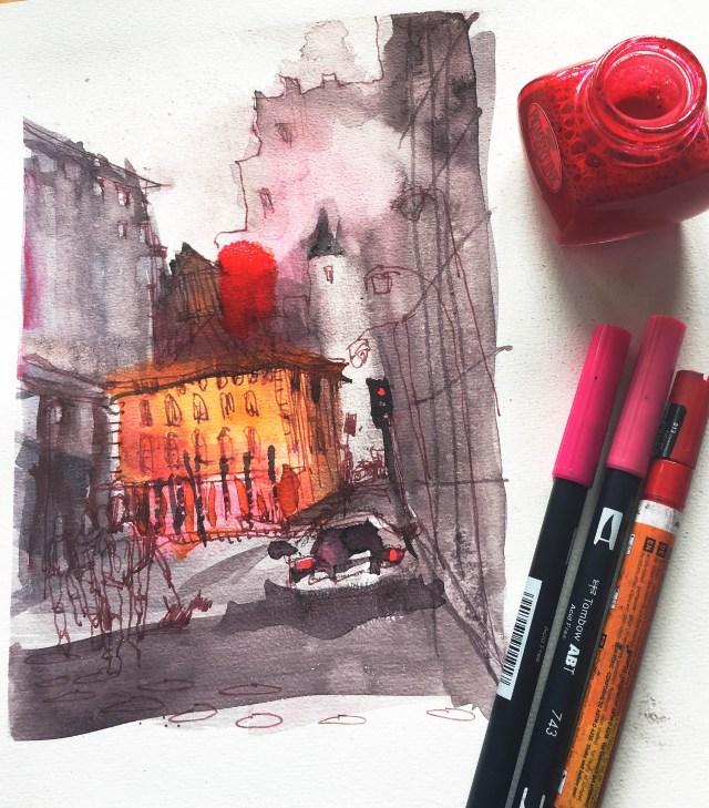 Anleitung, Tutorial malen lernen von Tine Klein für Aquarell, Skizzenbuch, Mallerei, Urban Sketching, Chicago, Bildidee,