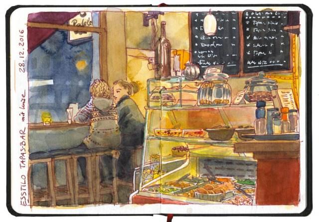 Zeichnung von Katrin Merle im Café