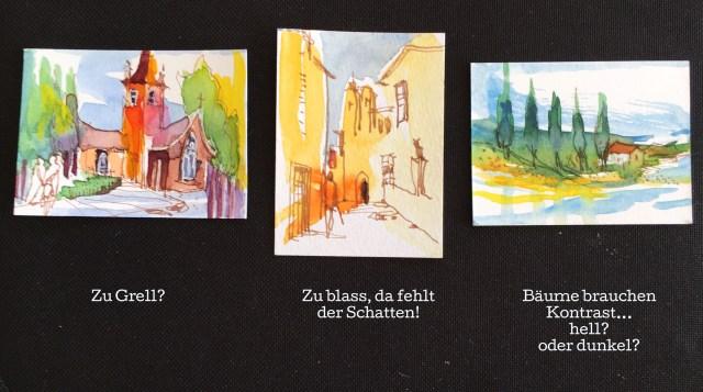 Tine Klein, frei malen, grosszügig malen, freie Malerei im Scheckkartenformat