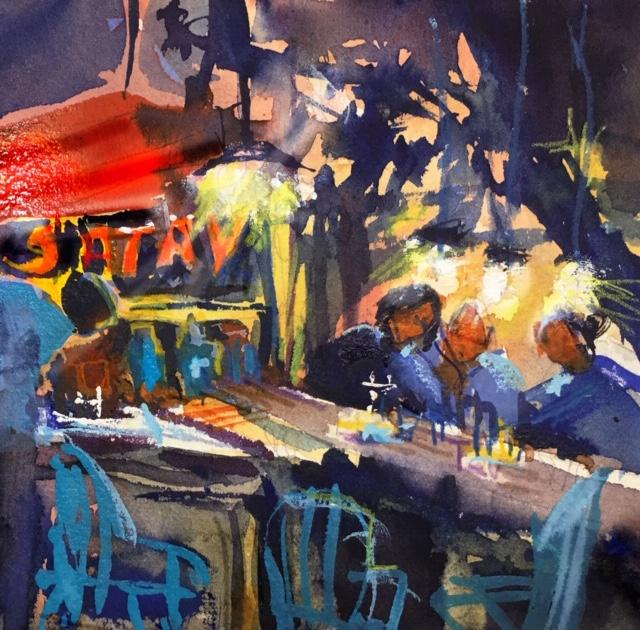 Tine Klein malt einen hawker markt in Asien, Motiv: Satay Stand am Straßenrand in Georgetown Malaysia