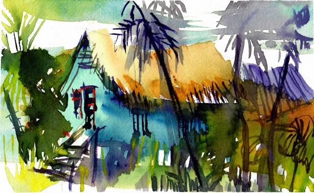 Tine Klein blaue Hütte auf Langkawi Malaysia Bon Ton Temple Tree Aquarellskizze mit Reisepinsel