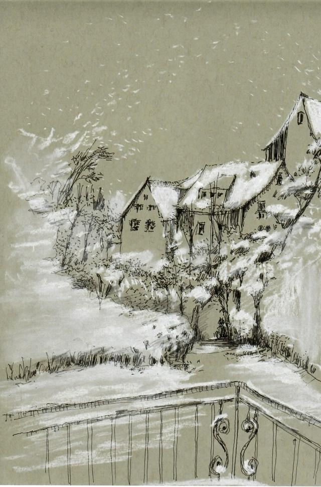 Tine Klein Tutorial Schnee malen Häuser mit Schnee im Laternen licht, Motiv Männedorf am Zürichsee, Schnee mit Pastellkreide Comte Sticks