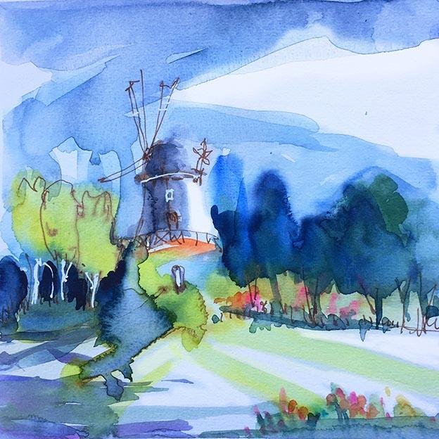 Windmühle in Worpswede, Aquarell von Tine Klein, Malunterricht in Worpswede