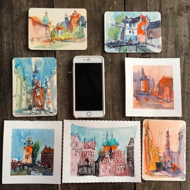 Malen lernen - die besten Tipps Farbstudie mit Miniaturen Tine Klein