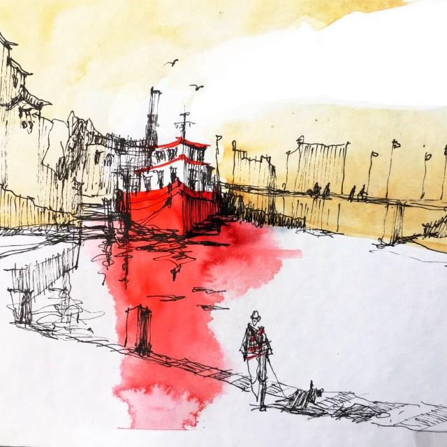 Tine Klein tutorial Pen and Ink zu unterschiedlichen Tintenfarben. Illustration Basel am Totentanz