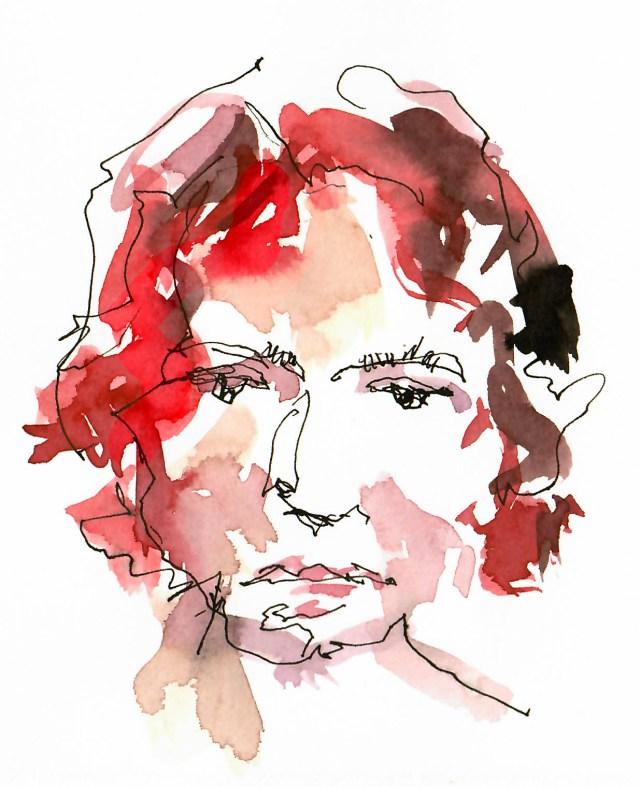 Porträt von Tine Klein im Livestream gemalt