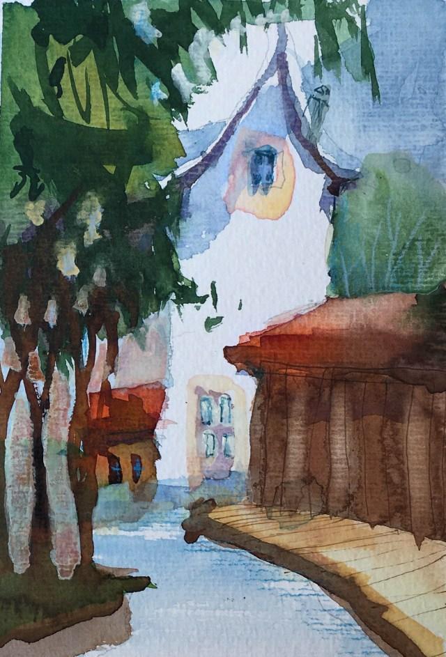 Tine Klein Aquarell mit Tinte, Tutorial Farbstimmungen , Haus in Basel St.Alban