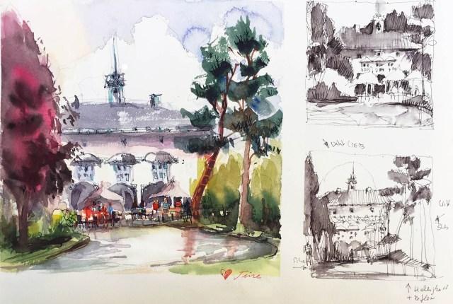 Draußen malen Tipps von Tine Klein. Aquarell zeigt Villa in den Merian Gärten Basel