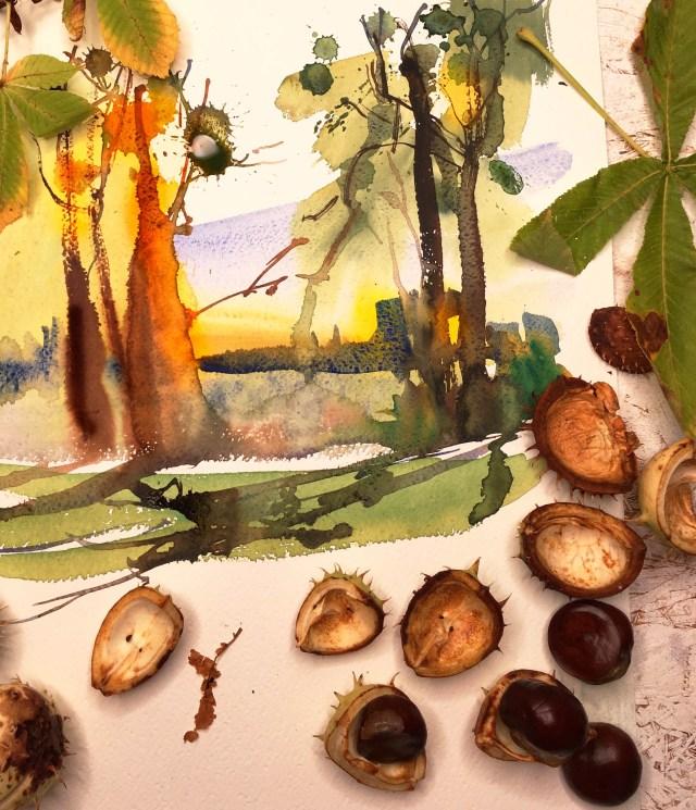 Tine Klein Herbst Baum, Licht., eine naturstudie in Aquarell.Kastanienbäume