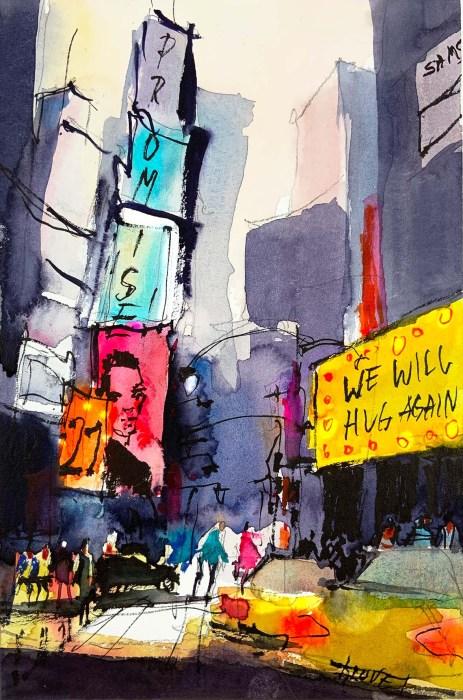 Tine Klein Aquarell Times Square. Blog über Motiv und Bildkommunikatioin