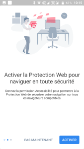 Activation des divers options disponibles